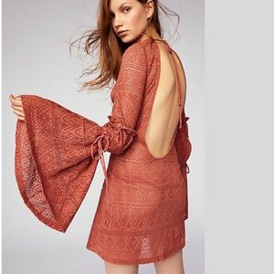 Brand new Free People sheer crochet mini dress NWT